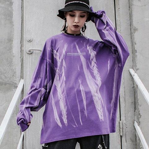 ロンt トレーナー ビッグトレーナー ロングtシャツ ビッグtシャツ ロンティー トップス 長袖シャツ オーバーサイズ 大きめ 大きいサイズ ビッグシルエット レディース 韓国ファッション ダンス 衣装 ストリート系 かっこいい おしゃれ 大人 紫 パープル