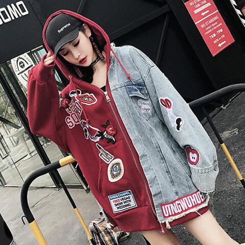 ダンス衣装 レディース アウター トップス パーカー フード フード付き デニム ジャケット ジップパーカー ビッグ シルエット 大きいサイズ 赤 ダンス 衣装 ヒップホップ 韓国 ストリート系 ファッション かっこいい 可愛い