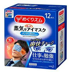 【花王】めぐりズム 蒸気でホットアイマスク メントールin (爽快感) 12枚入 ※お取り寄せ商品【RCP】