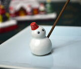 【日本香堂】赤い帽子の雪だるま陶器の香皿と雪だるまの香立のセット【お香】【室内香】【香皿】【香立て】*