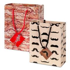 アクータメンツバッグ ひげ 髭 ベーコン ユニーク プレゼント 贈り物 包装 ラッピング 紙袋 袋...