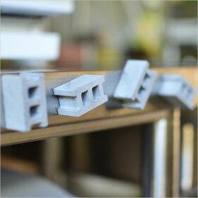 コンクリートブロックマグネット(4個セット)【マグネットセメントブロックステーショナリーキッチンマグネット磁石文房具雑貨文具ユニークデザイン】