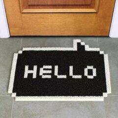 8ビット ハロー ドアマット ブラック Hello 8 bit ゲーム 昔 マット 黒 玄関 デザイン デザイナ...