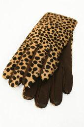 【Gloves】ハラココンビレザーグローブ(ブラウン×レオパード)
