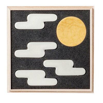 月がひとつと雲が4つ。日本画のような雲月箸置きセット