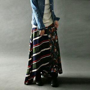 ボーダー ドレープ レトロドレープロングスカート