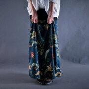 スカート フラワー リブロングスカート
