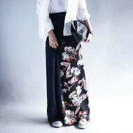 お洒落を磨くアートなフラワー。『異素材mix、やわらかいプリーツ。』風に揺れるロングスカート。2way花柄リブロングスカート##
