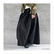 クロス&タックでスカート見えパンツ。綿ワイドパンツ★フレアタック##