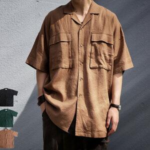 リネン開襟シャツ シャツ メンズ トップス 半袖 ゆったり・再販。メール便不可【M】