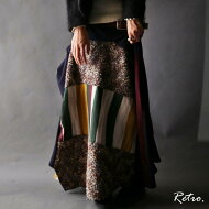 変形スカートの中の技ありバランス。『art柄切り替えデザインと異素材の組み合わせが魅力的。』ふわっとNewStyleスカート。デザイン切り替え×異素材変形スカート##