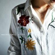 テクいらずでお洒落さん。『ぐっと心惹かれる刺繍で気分がアガル。』目を奪われる存在感。フラワー刺繍シャツ##