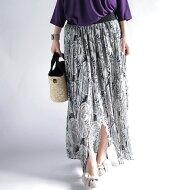 ペイズリープリーツをエッセンスにして。『スリット位置を自在にあやつる匠。』ウエストゴムまで刺繍入り。ペイズリー柄スリットプリーツスカート##