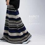 モダンなボーダー使いでいつもと一味違うお洒落感を。リブウエストスカート・11月16日20時〜再再販。##×メール便不可!