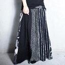 大人気の切替えスカートに新作登場!柄切替えロングスカート・4月10日20時〜再再販。##×メール便不可!