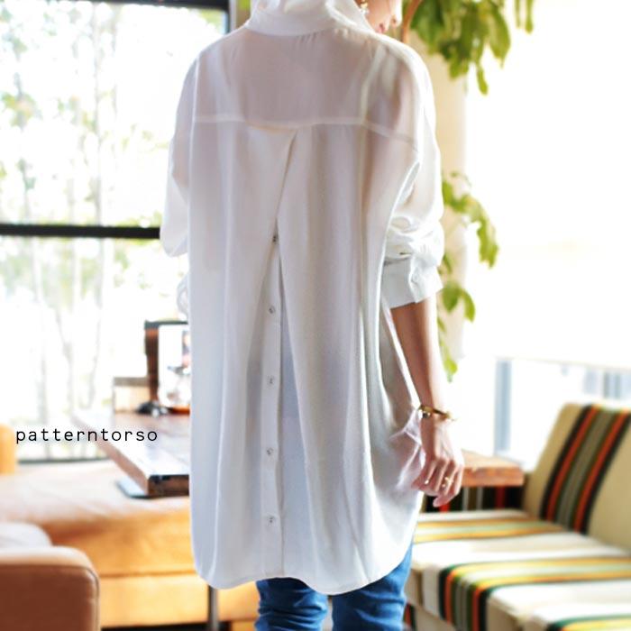 惚れ惚れする、極上のとろみシャツ。バックボタン付きシャツ・1月30日10時~再再販。前後差 ##×メール便不可!...