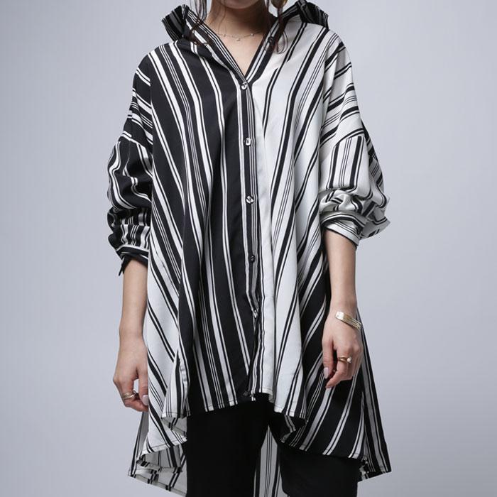 絶妙なゆとりをツクル切り替えデザインで抜け感を。ストライプワイドシャツ・2月19日20時~発売。(80)◎メール便可!y3...