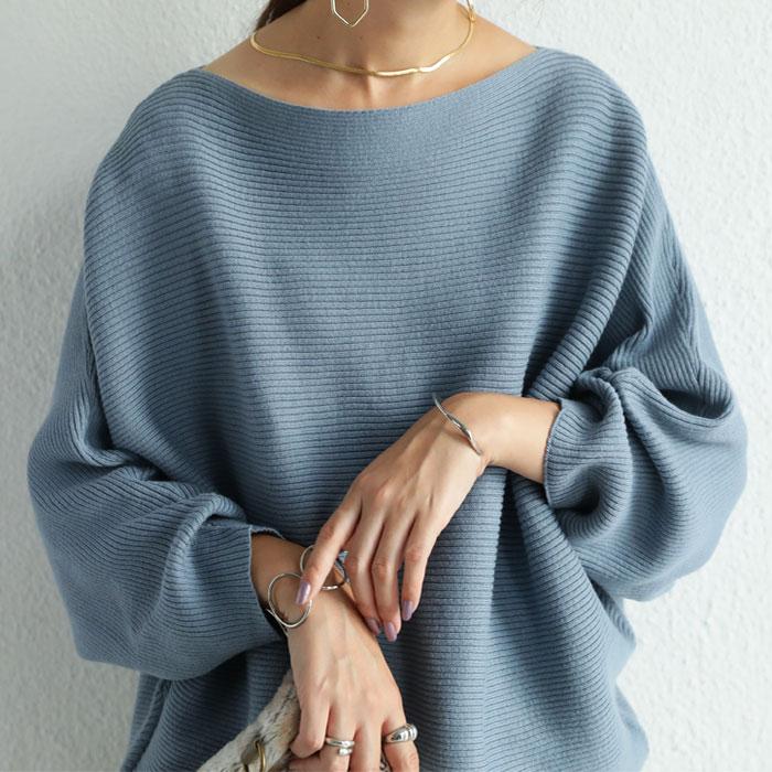 新色追加!楽々リブニットで女性らしく。リブ綿ニットドルマントップス 綿100%が新しい世界を開いてくれる。・9月10日0時~再再販...