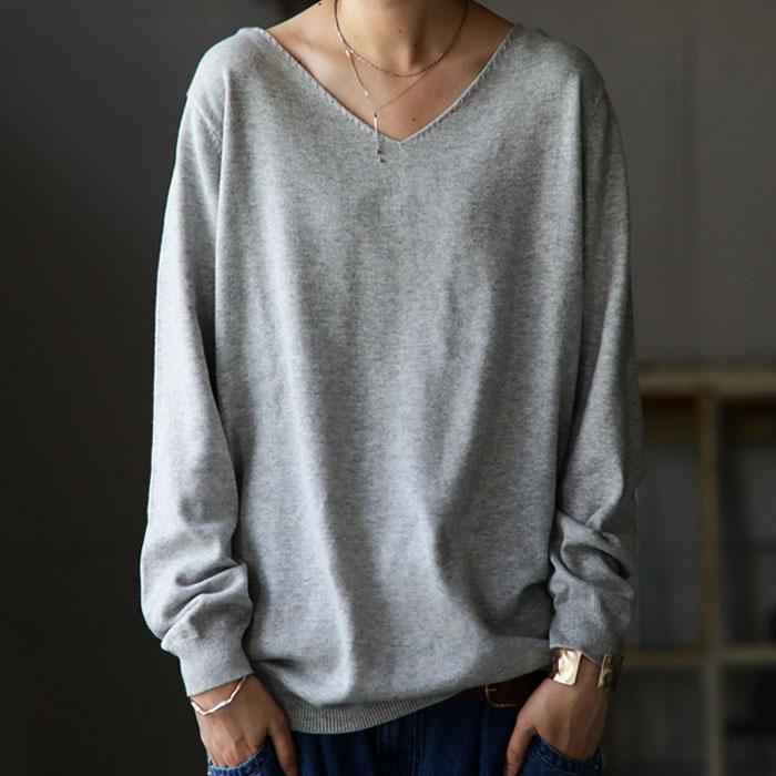万能綿knit、最旬シルエットで完成。綿ニットトップス・9月10日0時~再再販。メール便不可...