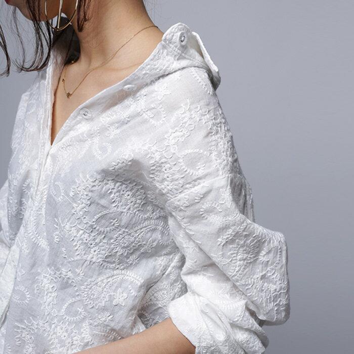 品の良さと洗練さ、繊細な刺繍で魅せる一枚。ペイズリー刺繍シャツ・2月9日0時~再再販。(80)メール便可