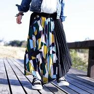 antiquatoy新作!『色トリドリのレトロ柄が印象に残るお洒落さで。』1月13日20時〜発売!アシンメトリーと切替えデザインだから良い。アシンメトリーレトロ柄プリーツスカート##