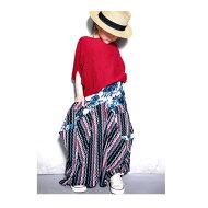 趣ある柄と柄が作り出す別格の雰囲気。変形ロングスカート・0月0日20時〜発売。センスある不思議なカタチと柄の組み合わせ。##