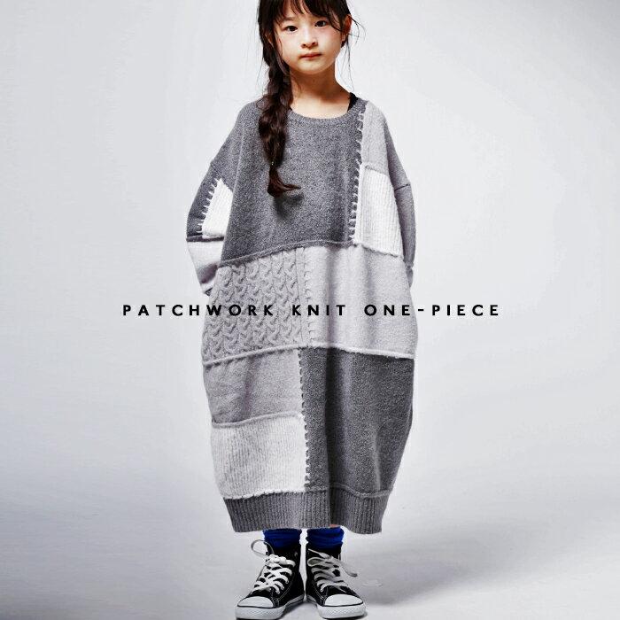 knitで作るパッチワークdesignがお洒落。切替ニットワンピ・再販。##×メール便不可!【1911B】...