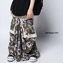 こんなお洒落なスカートが欲しかった!ドット×花柄ロングスカート・再販!(50)◎メール便可!
