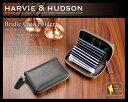 【牛革・名刺入れ・メンズ】 ハービーアンドハドソン HARVIE&HUDSON ブライドル ラウンドファスナー カードケース HA-1006