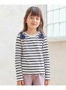 ボーダー裾スカラップ 長袖Tシャツ any FAM KIDS エニィファム カットソー Tシャツ ネイビー グレー パープル[Rakuten Fashion]