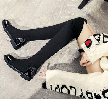 【Anytime】レディースソックスブーツ ストレッチロングブーツ ニーハイブーツ 裏起毛 暖かい 冬靴 ローヒール インヒール 秋冬 シューズ 伸縮性 ストレッチ素材 美脚効果 フィット 靴下ブーツ 5cm 大きいサイズ ブラック
