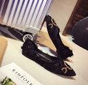 レディースぺたんこパンプス 大きいサイズ靴 Vカット バレエシューズ カジュアル フラット ローヒール ポインテッドトゥ 女っぽ 歩きやすい 疲れない blingbling 【Anytime】