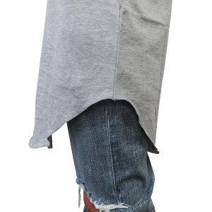 【GRANDSLAMEXCLUSIVE】LONGROUNDTANK【ロング丈ラウンドタンクトップ】【GRAY】無地ダンスダンサー衣装ロングシルエットサイドスリットストリートモードKANYEWESTJUSTINBIEBERグレーあす楽対応
