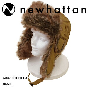 NEWHATTAN【ニューハッタン】フライトキャップ【CAMEL】6007FLIGHTCAPパイロットキャップメンズ防寒ファー付ロシア帽ロシア帽子アウトドアウォータープルーフキャメルあす楽対応