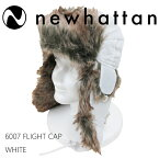 NEWHATTAN【ニューハッタン】フライトキャップ【WHITE】6007FLIGHTCAPパイロットキャップパイロットハットエスキモーキャップメンズ耳付き防寒ファー付ロシア帽ロシア帽子アウトドアウォータープルーフホワイトスノボーあす楽対応