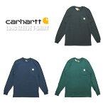 U.S.A.企画Carhartt(カーハート)POCKETL/ST-SHIRTS(ポケットロングスリーブTシャツ)(3カラー)K126トップス長袖胸ポケットオリジナルフィット海外企画定番人気大きいサイズオーバーサイズブラックネイビーグリーンあす楽対応レターパック対応