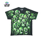 LIQUIDBLUEスカルプリントTシャツ(SKULLPILEGREENBLACKT-SHIRT)(BLACK/GREEN)半袖蛍光プリントS/ST-SHIRTSHORTSLEEVEブラックグリーンTRAVISSCOTTGLOWINTHEDARKあす楽対応