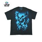 【レターパック対応】LIQUIDBLUEスカルプリントTシャツ(VAMPIRESKULLSBLACKT-SHIRT)(BLACK/BLUE)半袖蛍光プリントS/ST-SHIRTSHORTSLEEVEブラックブルーGLOWINTHEDARKあす楽対応