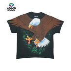 【レターパック対応】LIQUIDBLUEスカルプリントTシャツ(AMERICANWILDLIFEVINTAGEEAGLEBLACKT-SHIRT)(BLACK)半袖プリントS/ST-SHIRTSHORTSLEEVEブラックイーグルTRAVISSCOTT海外限定あす楽対応