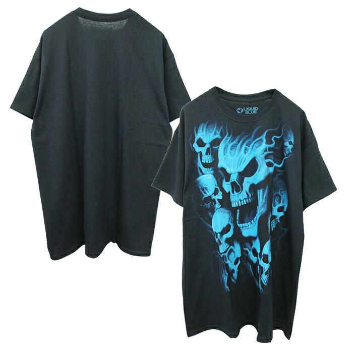 トップス, Tシャツ・カットソー LIQUID BLUE T(VAMPIRE SKULLS BLACK T-SHIRT)(BLACKBLUE) SS T-SHIRT SHORT SLEEVE