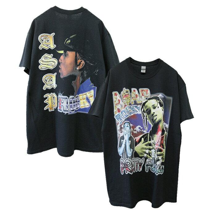 トップス, Tシャツ・カットソー Retro Finest Tees( )ASAP ROCKY T-SHIRT(BLACK) T RAP TEE RAPTEES HIPHOP