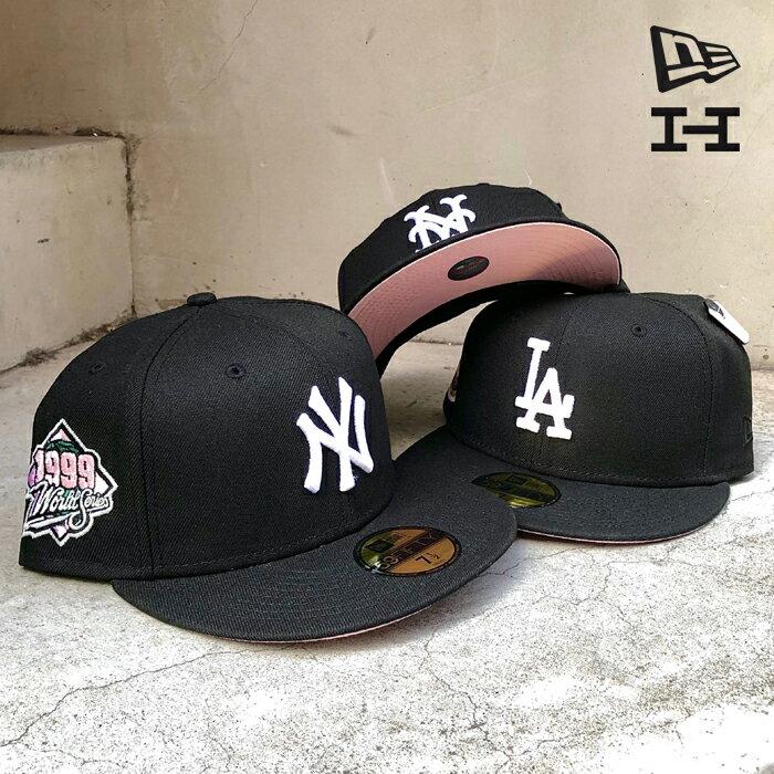 メンズ帽子, キャップ  NEWERA 59FIFTY THE COOKIES CREAM COLLECTIONSIDE PATCH HAT CLUB exclusiveYANKEESMETSDODGERSB LACKWHITE PINK BOTTOM MLB