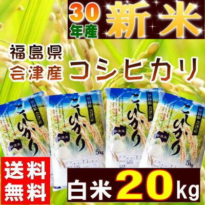 コシヒカリ20kg(5kg×4袋)新米福島県産お米米29年産会津産送料無料特A『29年会津産コシヒカリ(白米5kg×4)』【RCP】