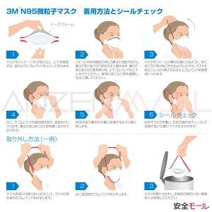 医療用N95マスク1870-N95(20枚入)の装着方法および取り外し方法