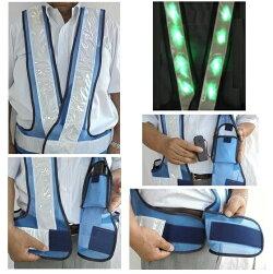 超高輝度緑色LEDベスト背中台形反射シート付きLED安全チョッキライトブルーメッシュ/白銀色テープLED-LBWW-G(T)