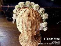 【Henrietteアンリエット24】シロツメクサ×アンティークレースのカチューシャ【RCP】【しろつめくさしろつめ草クローバー布花染め花アンティークハンドメイド髪飾りヘアアクセサリーヘッドドレス】【日本製国産】