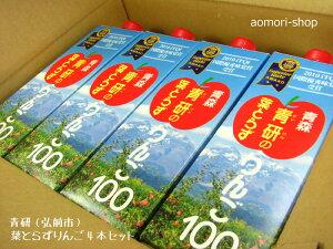 送料込★青研【葉とらずりんご100】1リットル×4本入り※同梱不可
