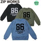 MENS/135cm~175cm/オトナ/ティーンズ/ZIPWORKS長袖/Tシャツ/クールメッセージ長袖Tシャツ/ジップワークス