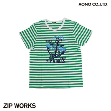 【春夏】ボーイズ/130cm~160cm/ZIPWORKS半袖Tシャツ/イカリ/マリン/プリント/ボーダー/ジップワークス