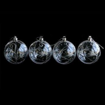 クリスマス飾り オーナメント/クリアグリッターボール 70mm 4個入/梱包サイズ小